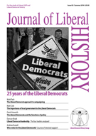 Cover of Journal of Liberal History 83 – Special issue: The first 25 years of the Liberal Democrats