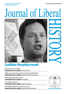Cover of Journal of Liberal History 92 – Special issue: Liberal Democrats and the coalition: the policy record